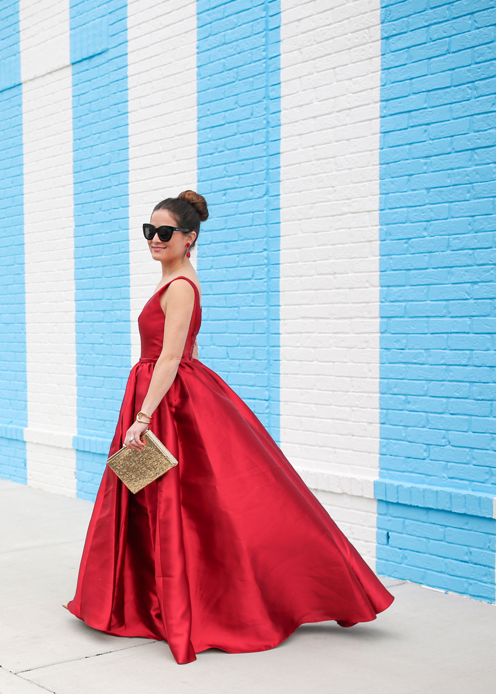 Red Full Skirt Ball Gown