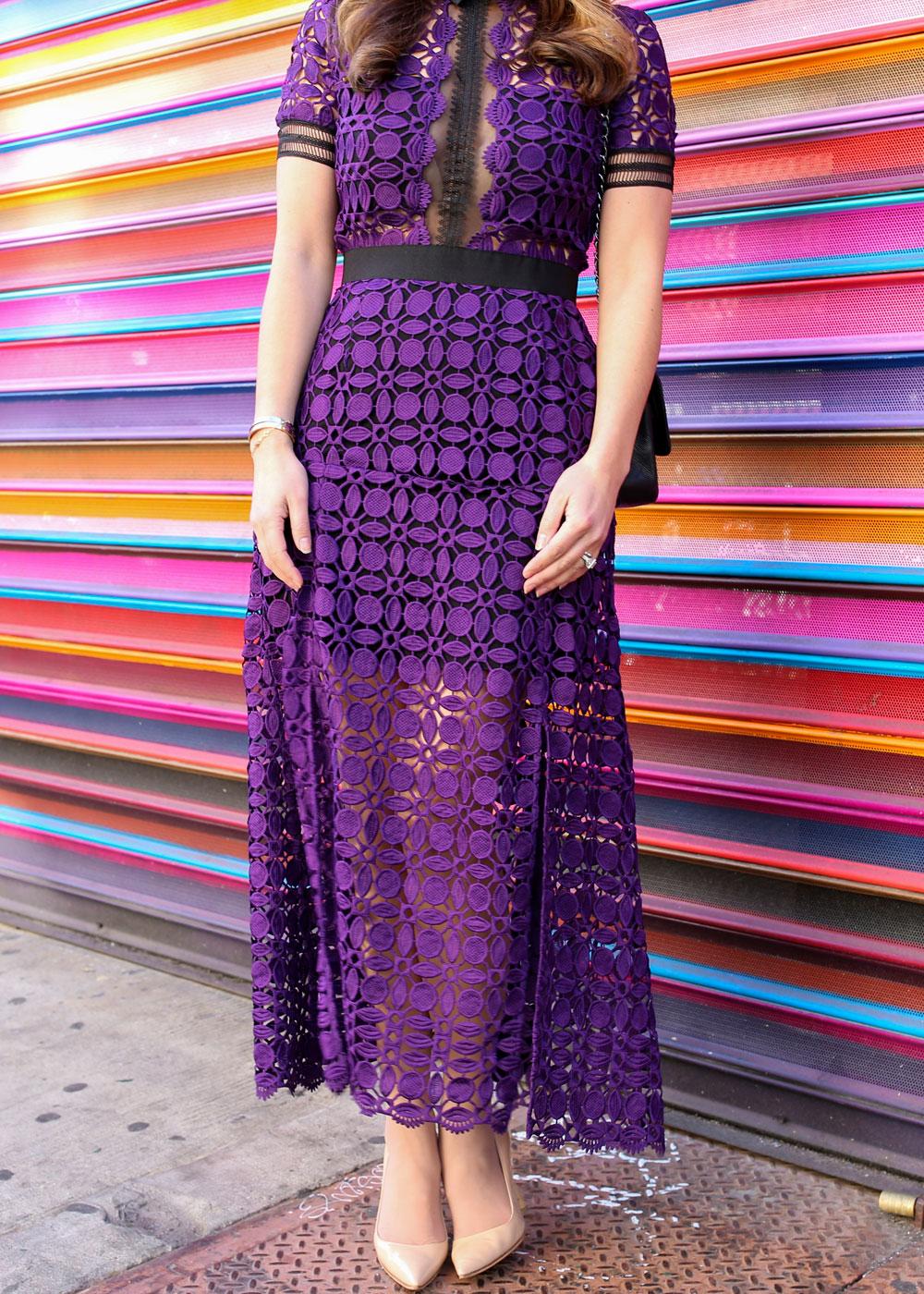 Self Portrait Purple Lace Dress