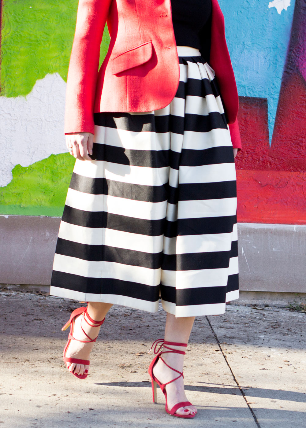 Black White Stripe Midi Skirt