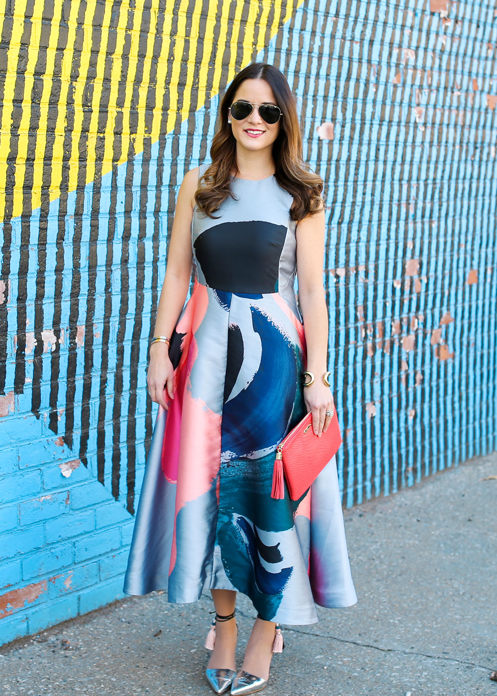 Blue Brushstroke Midi Dress