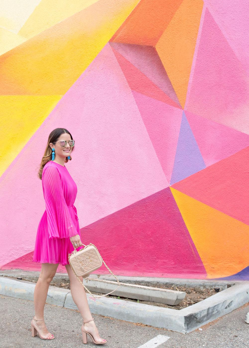Los Angeles Pink Multicolor Geometric Wall Mural
