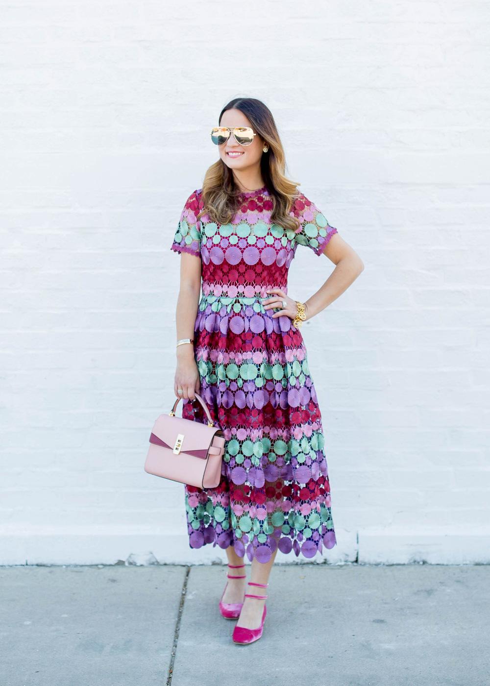 Multicolor Midi Lace Dress