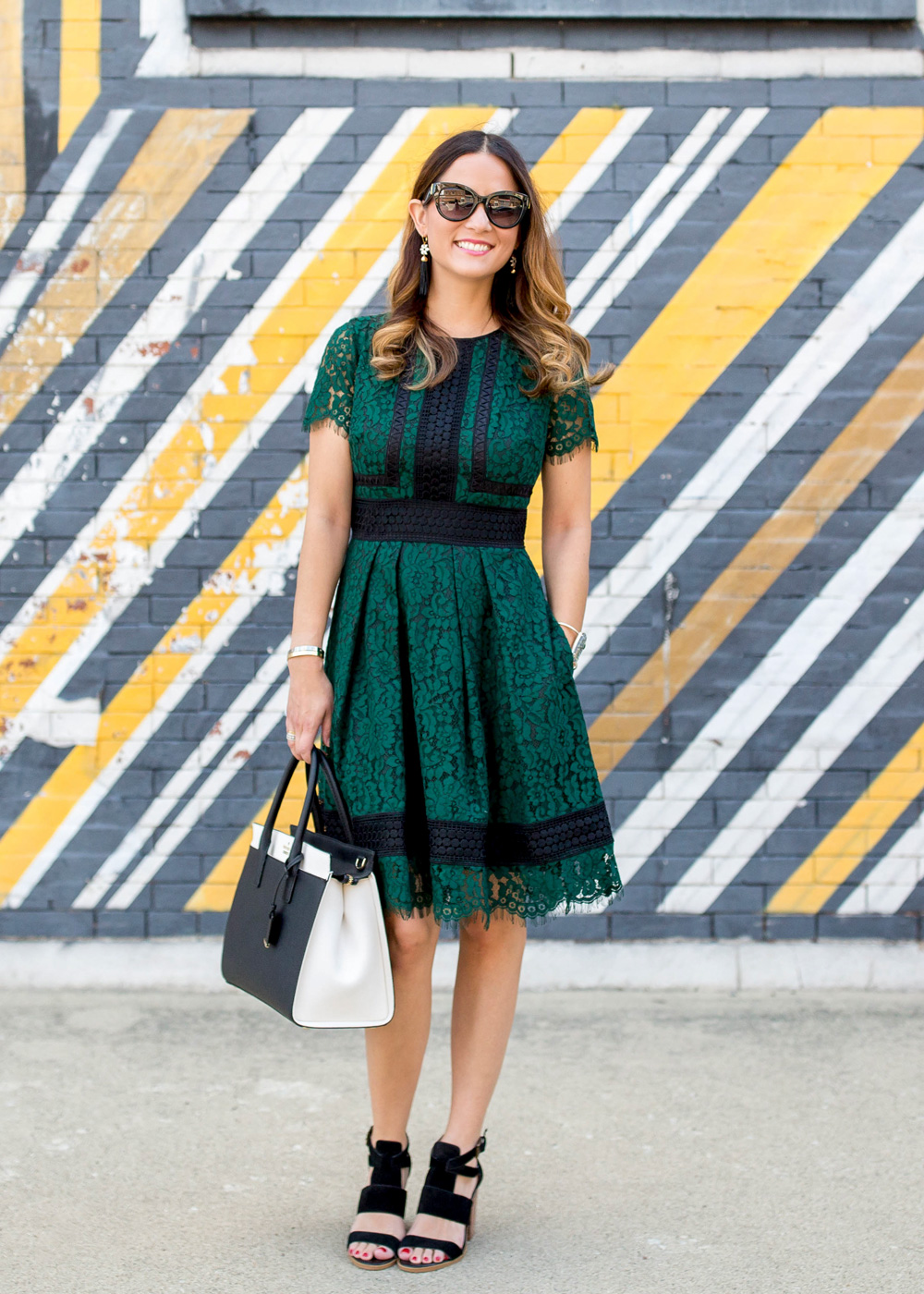 Eliza J Green Lace Dress