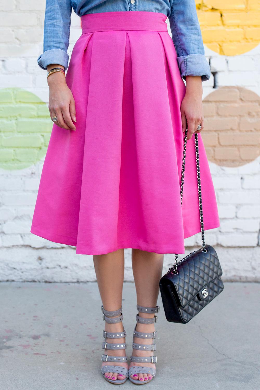 Bright Pink Flare Midi Skirt
