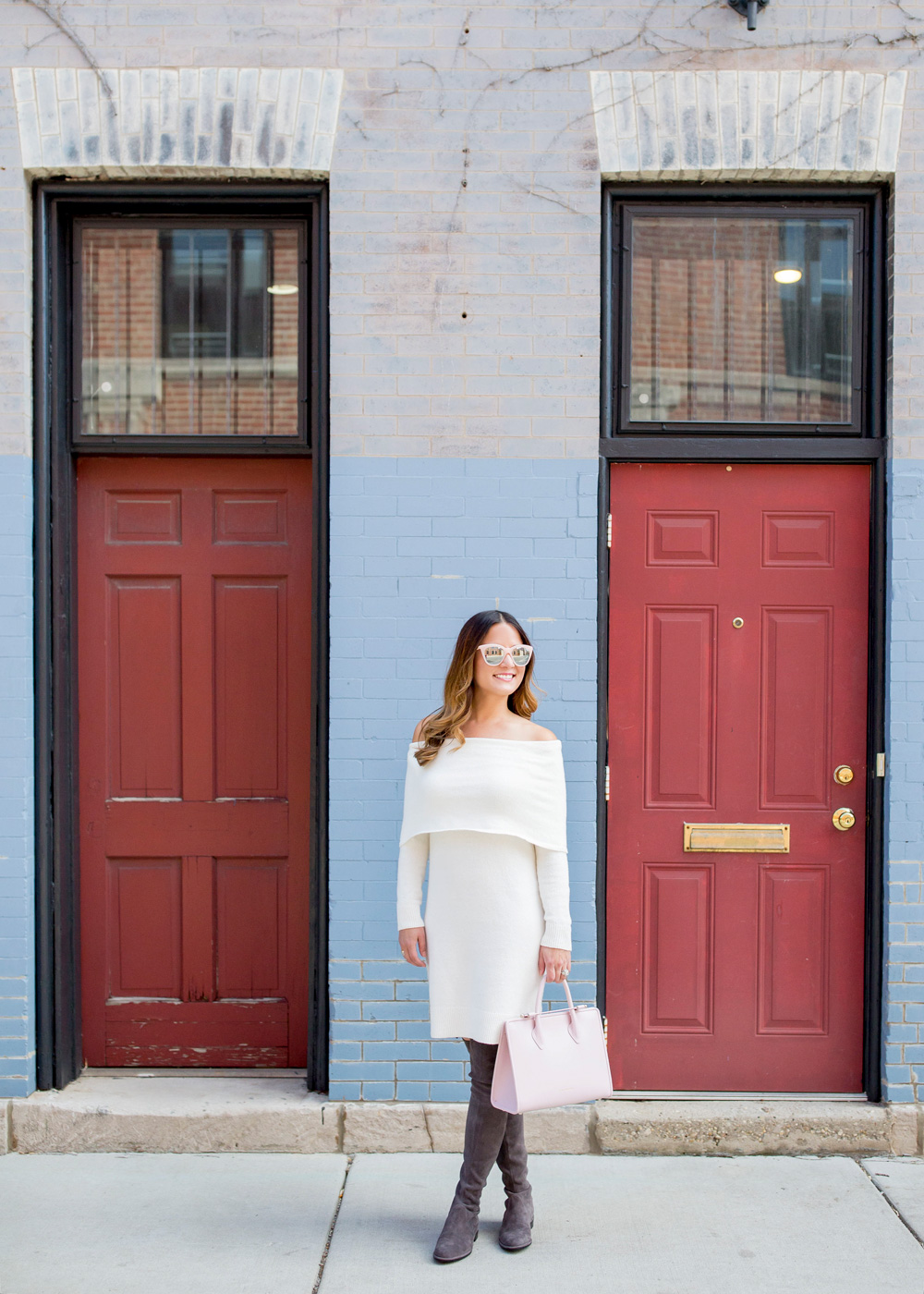Ivory Off Shoulder Sweater Dress