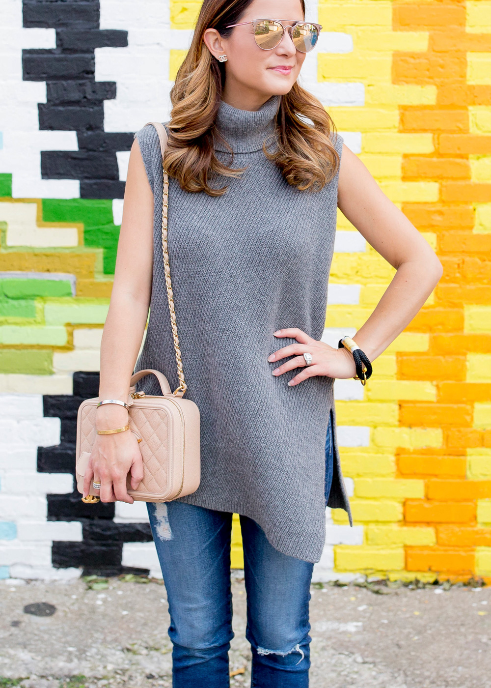 Nordstrom Grey Sleeveless Tunic Sweater