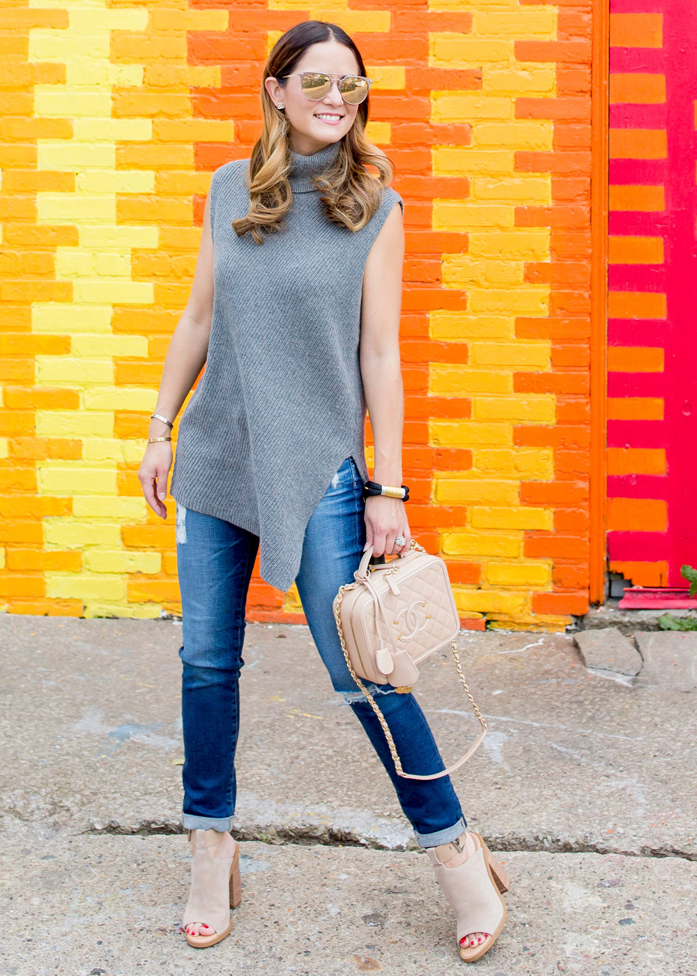 Grey Asymmetrical Tunic Sweater