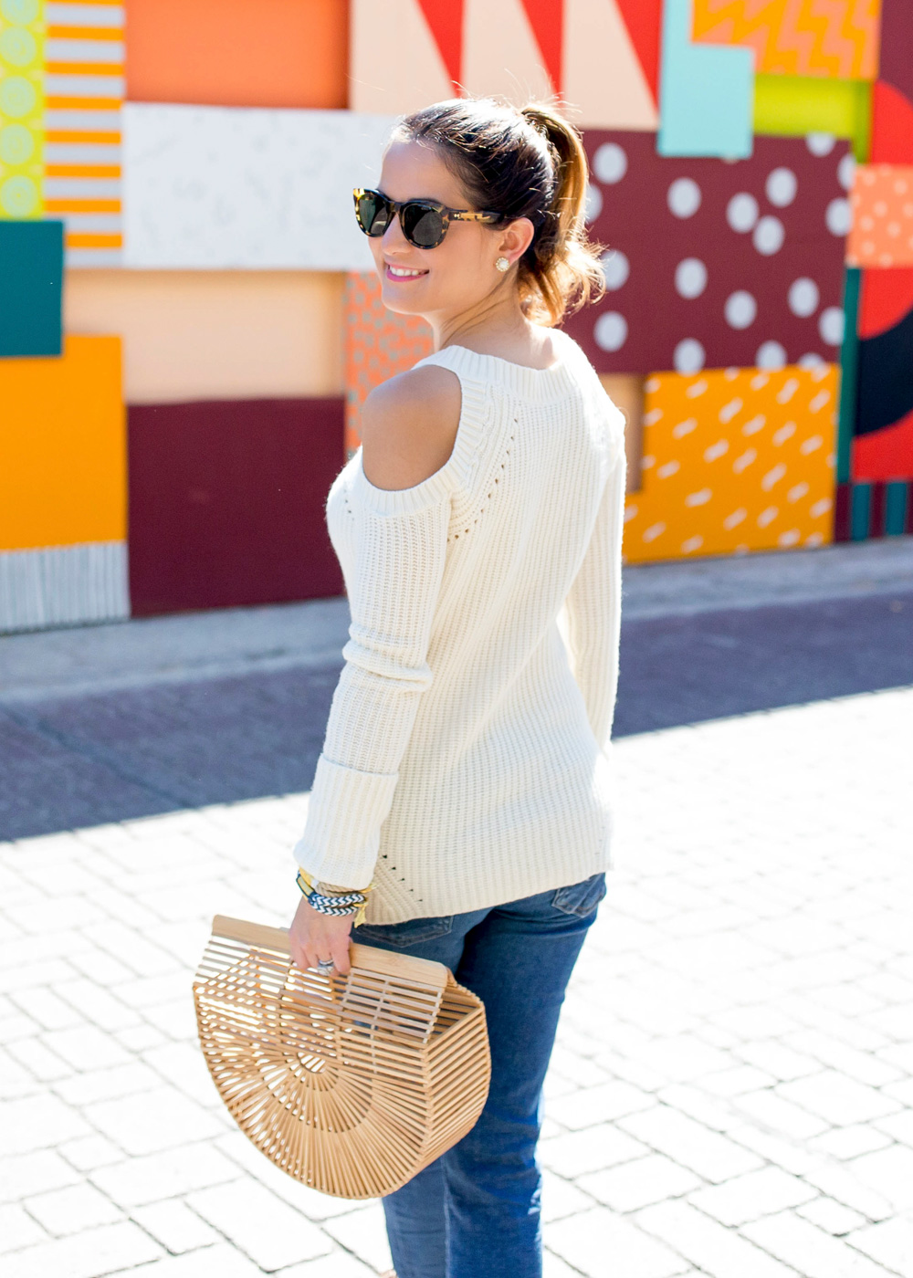 Ivory Cold Shoulder Sweater