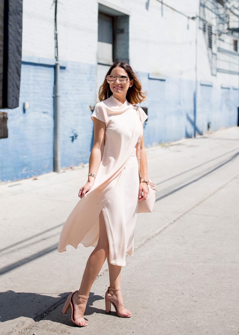 Pink Draped Midi Dress