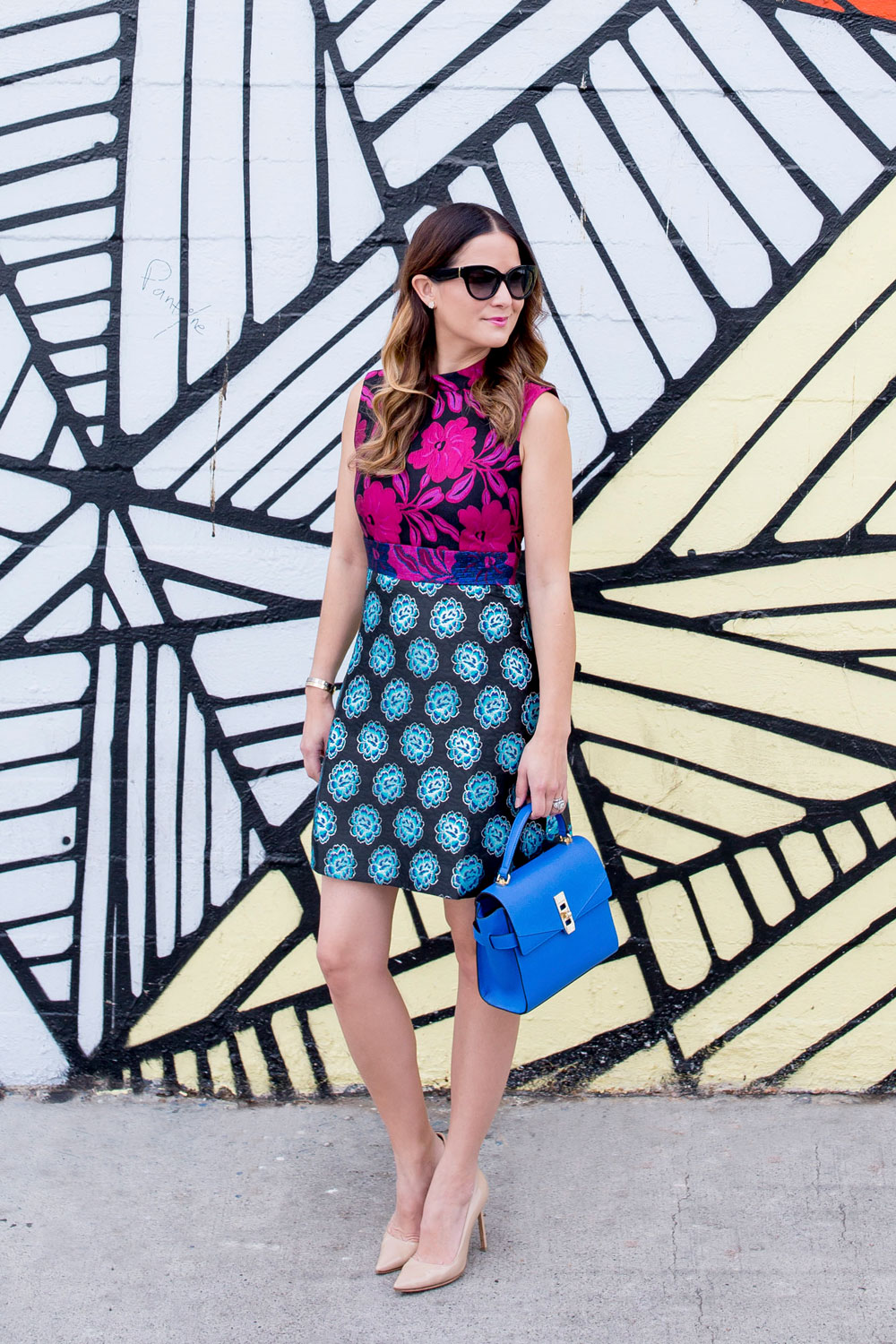 Colorful Brocade Shift Dress