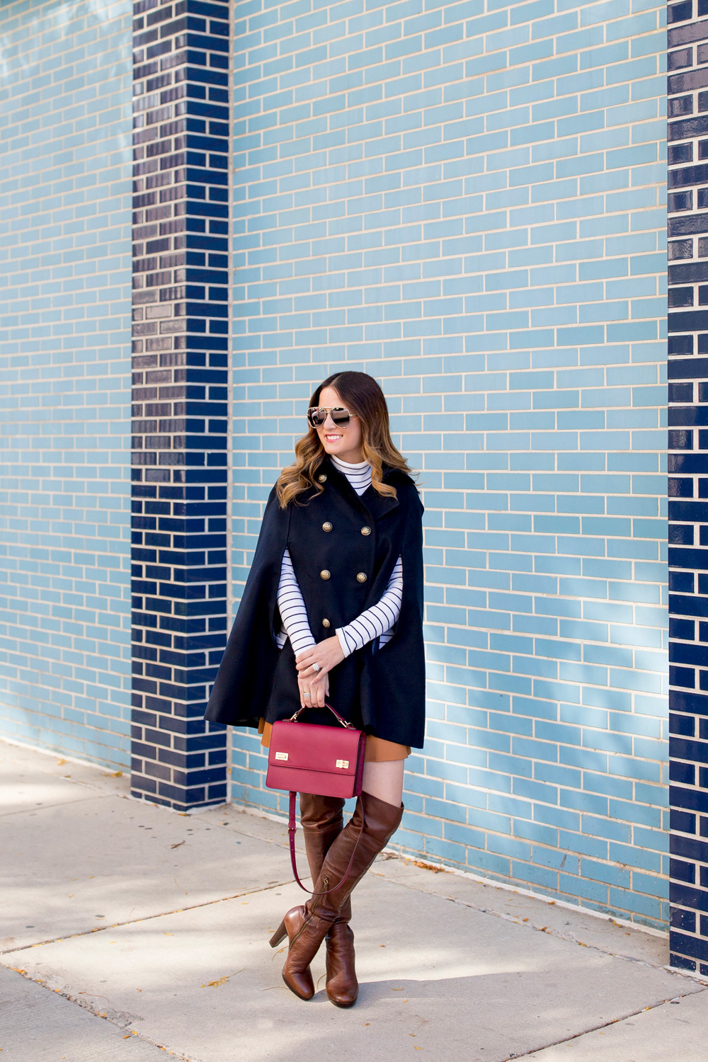 Navy Cape Outfit Over The Knee Boots
