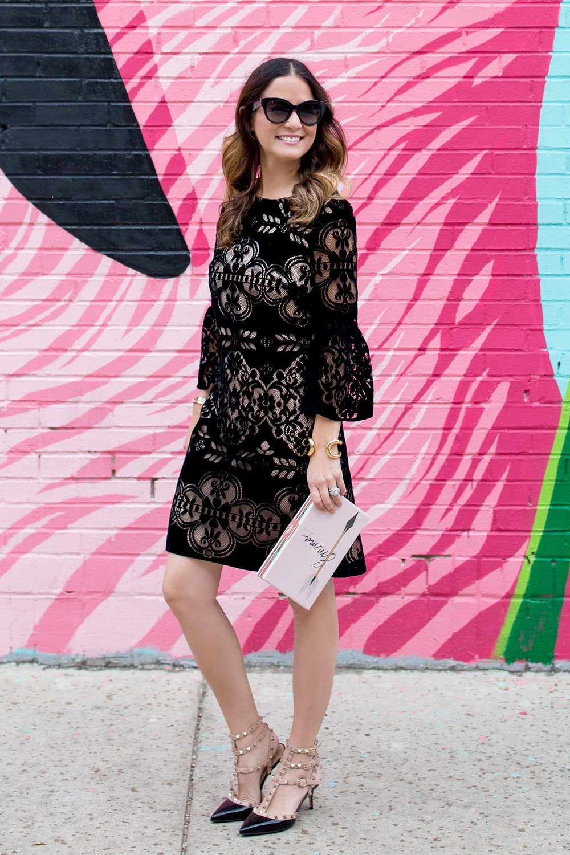 Eliza J Black Velvet Lace Dress
