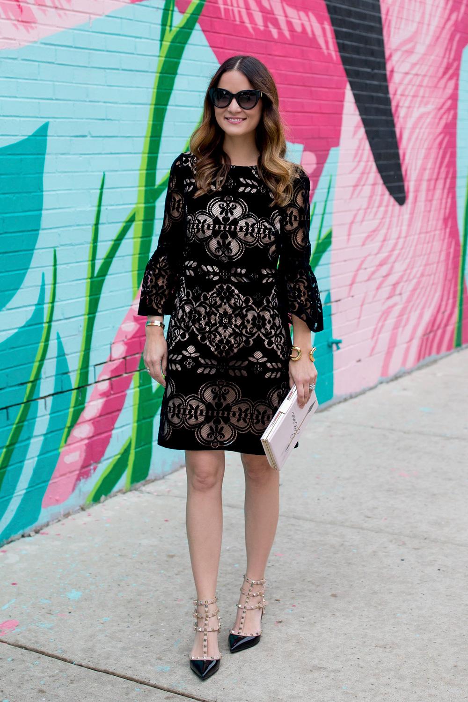 Black Velvet Lace Bell Sleeve Dress