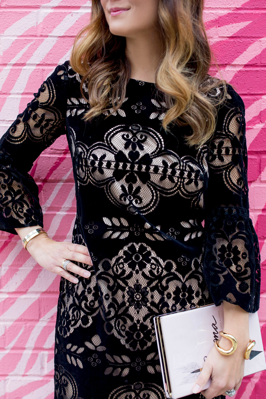 Black Lace Velvet Dress