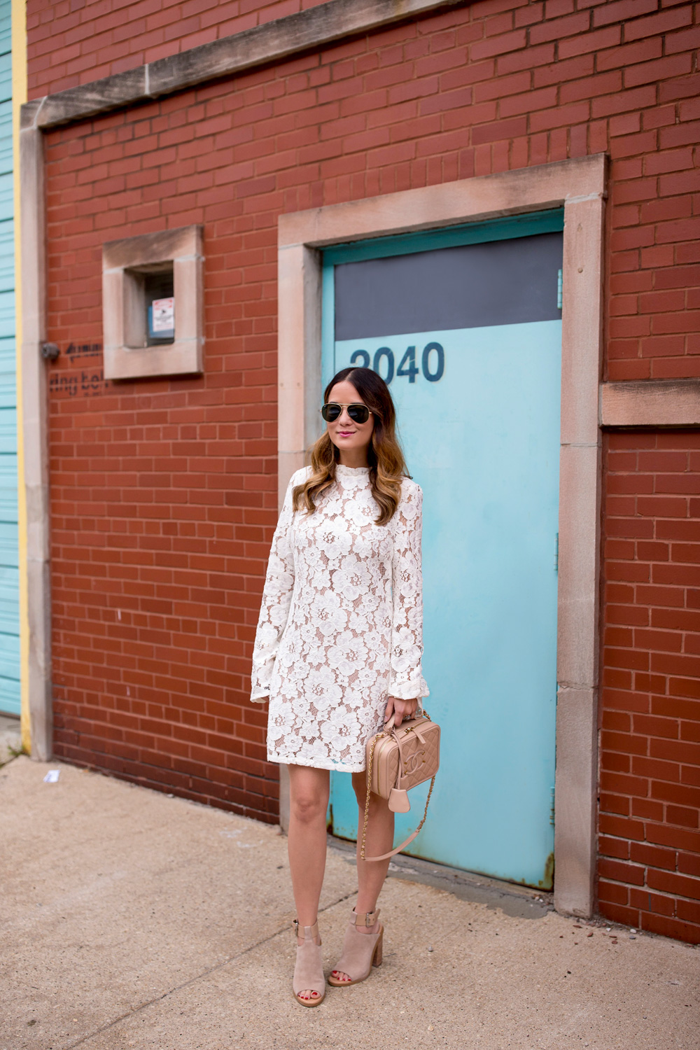 Ivory Lace Bell Sleeve Dress