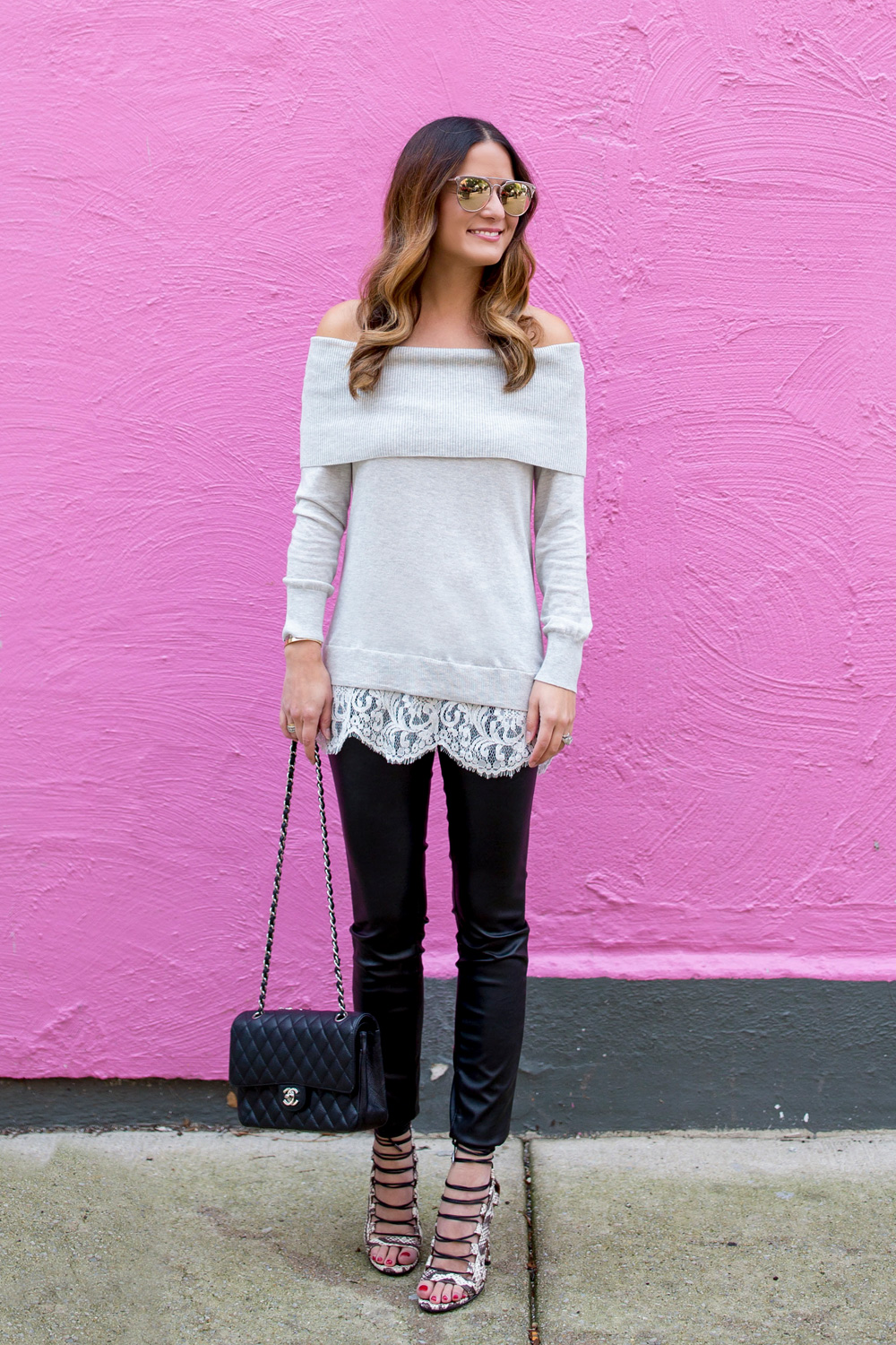Grey Lace Off Shoulder Sweater