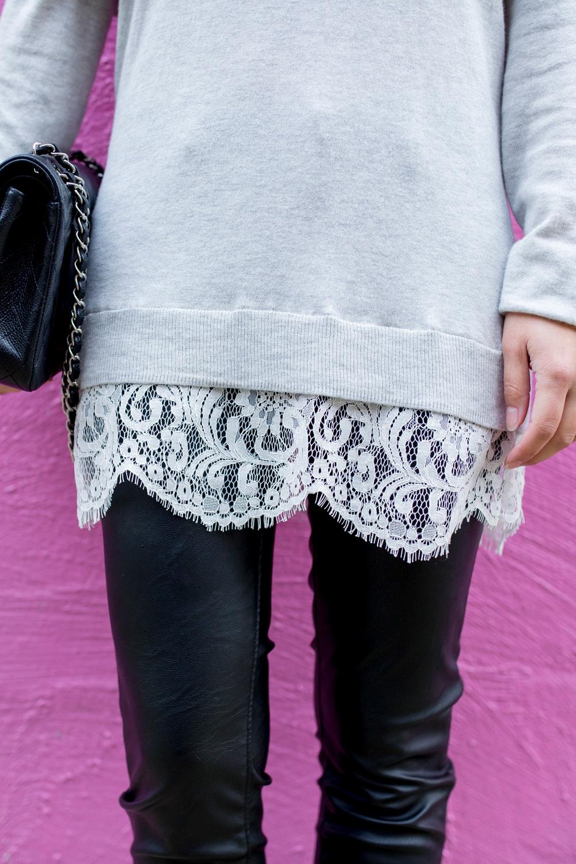 Grey Lace Trim Sweater