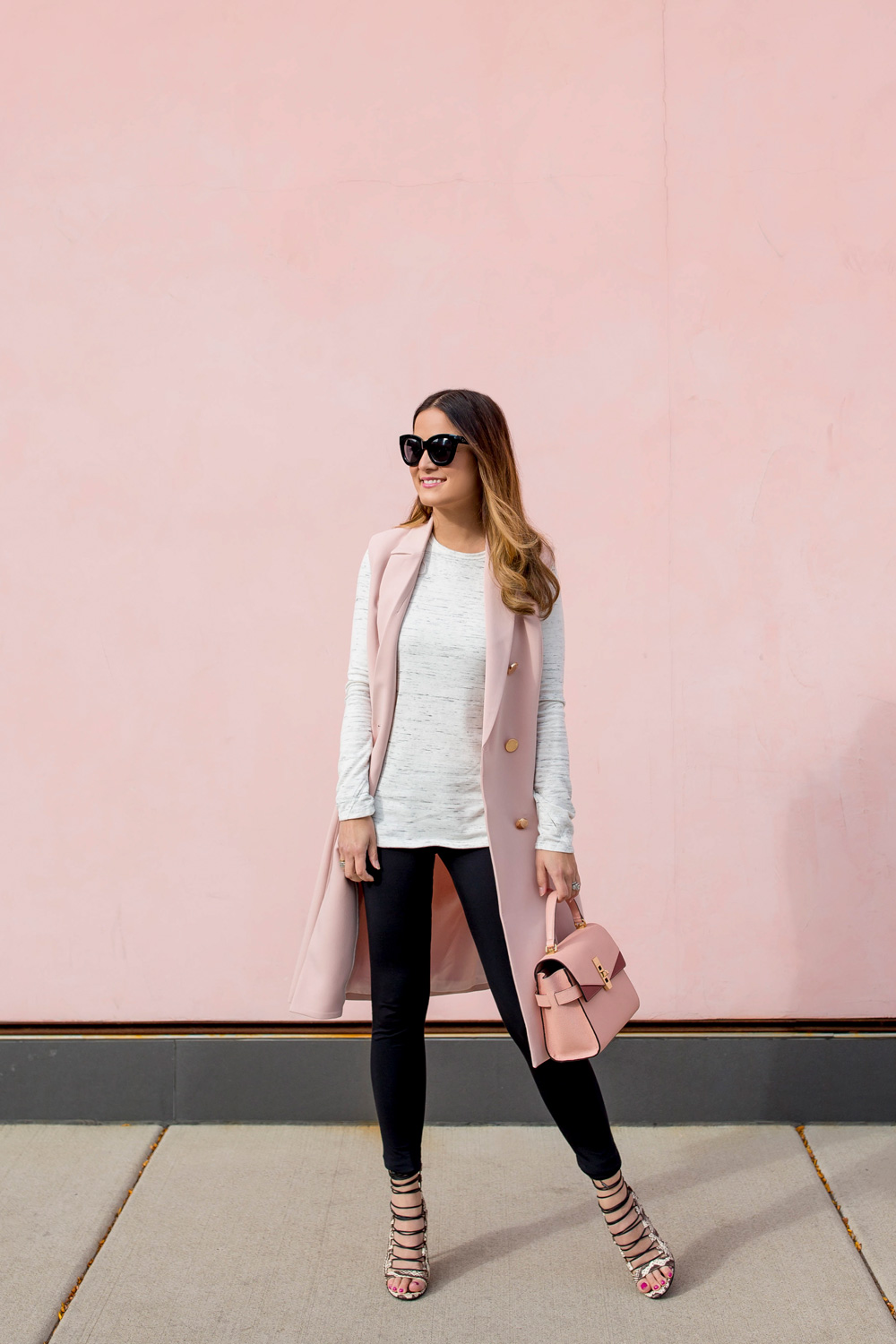 Long Pink Vest Outfit