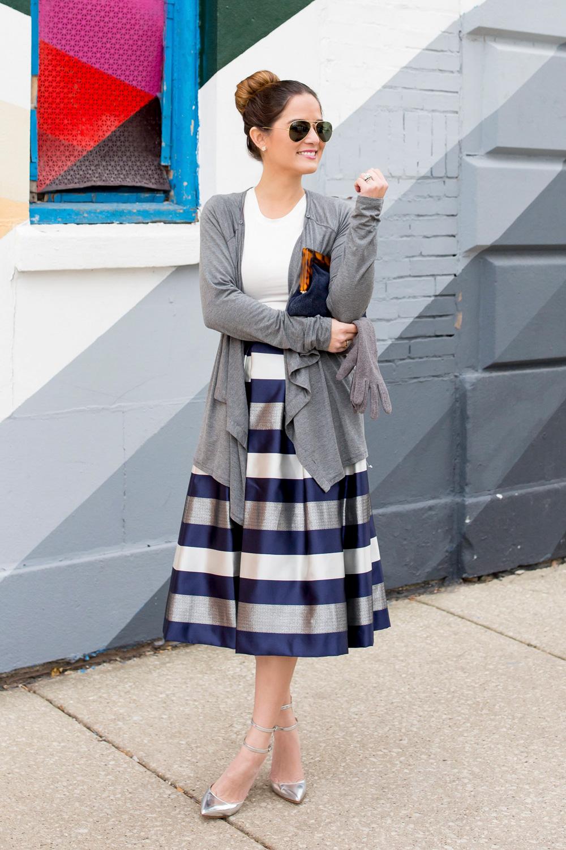 Eliza J Stripe Midi Skirt