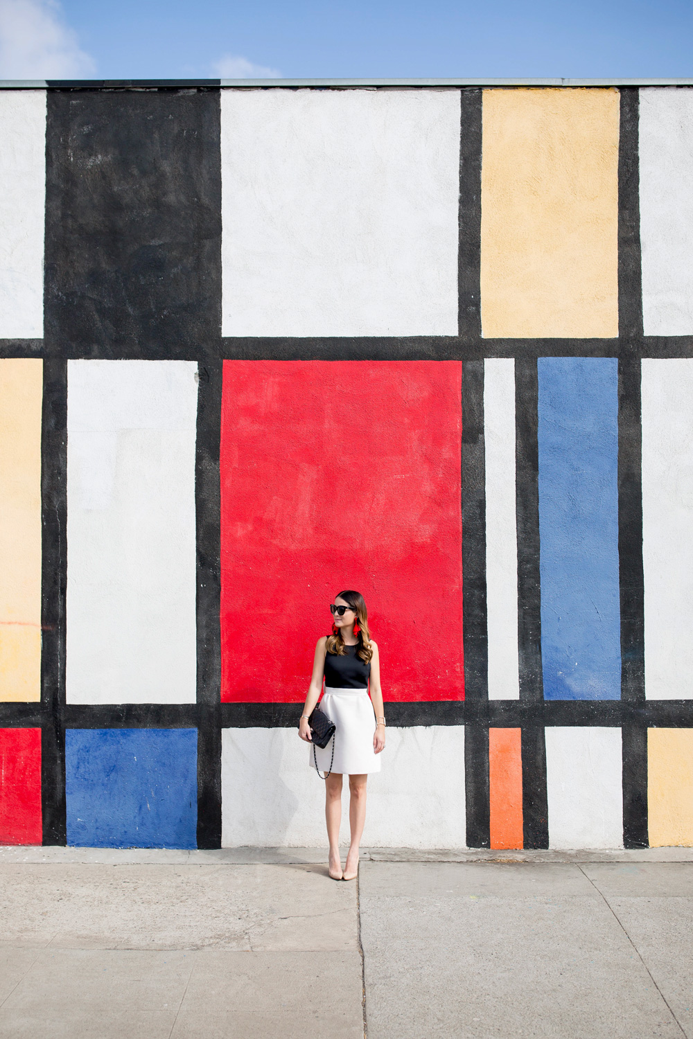 Los Angeles multicolor grid Mondrian wall mural