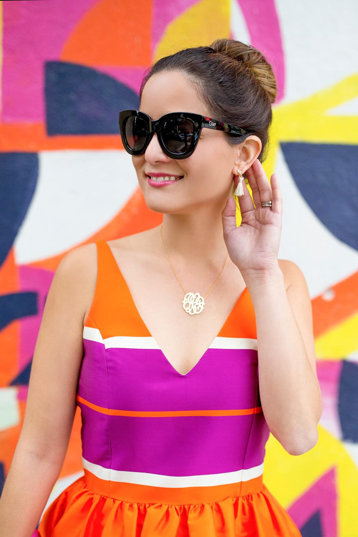 Moon and Lola Monogram Necklace Tassel Earrings