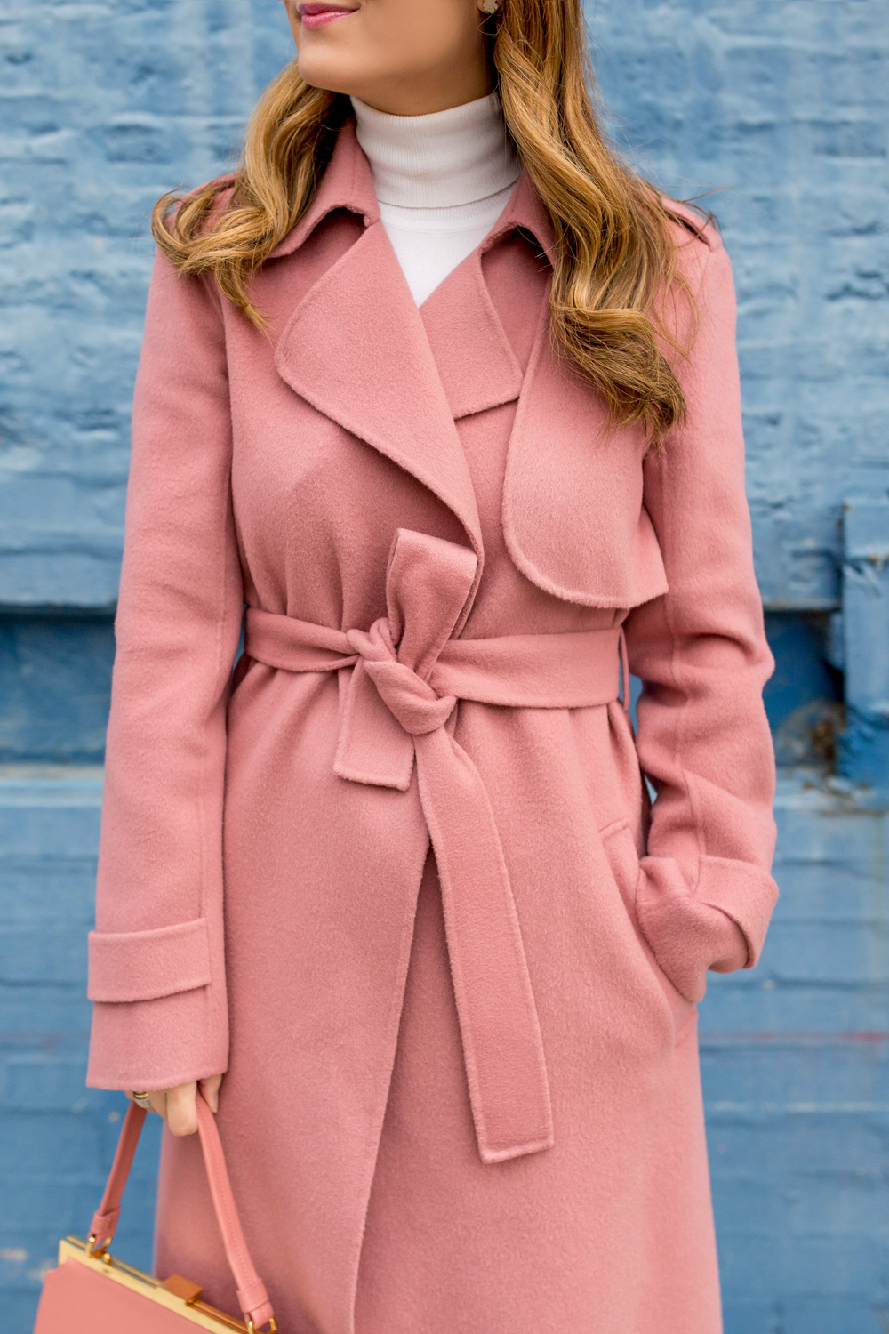 Pink Cashmere Trench Coat