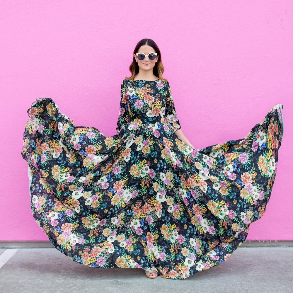 Full Flowing Floral Maxi Dress Yumi Kim