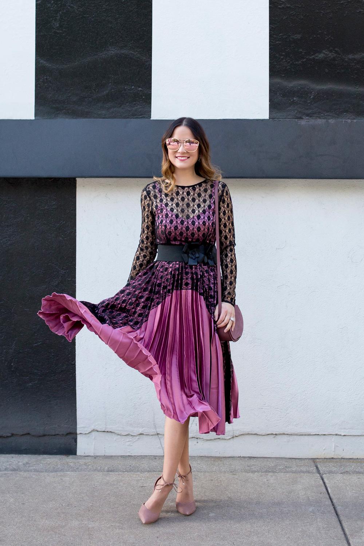 Satin Lace Pleated Midi Dress