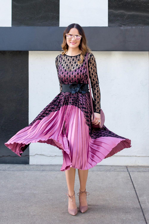 Satin Lace Pleated Dress