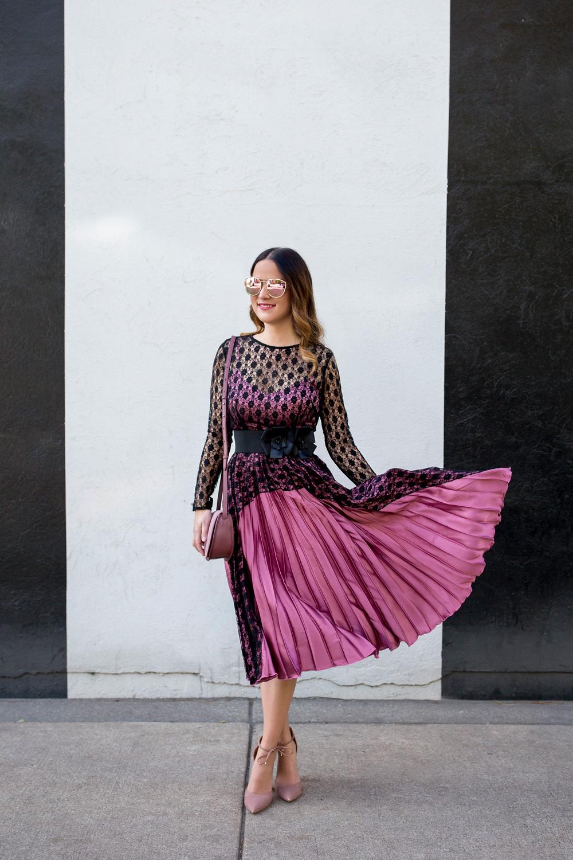 Blush Satin Pleated Midi Dress
