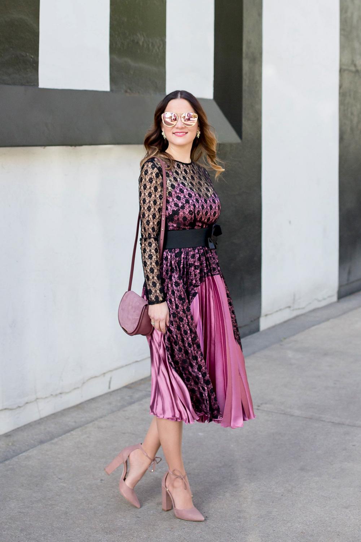 Lace and Satin Pleated Midi Dress