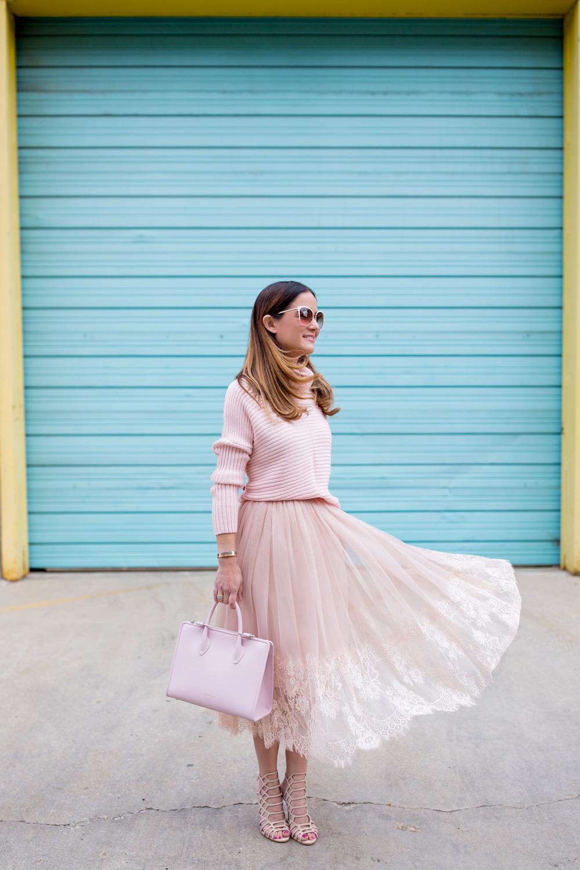 Pink Tulle Midi Skirt