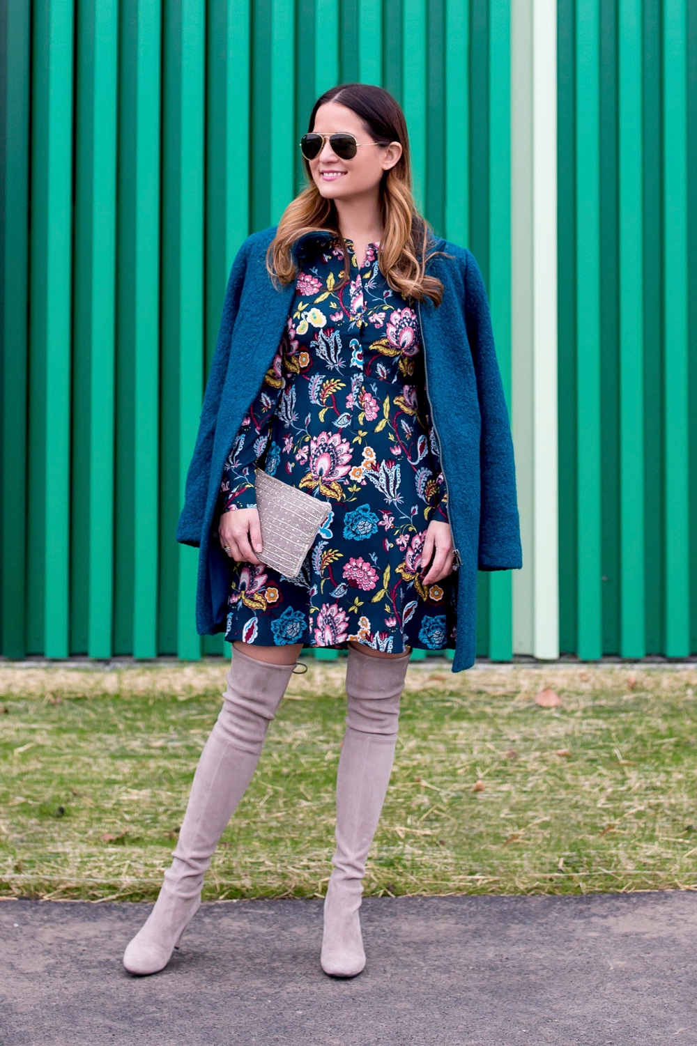 Teal Garden Floral Shirtdress