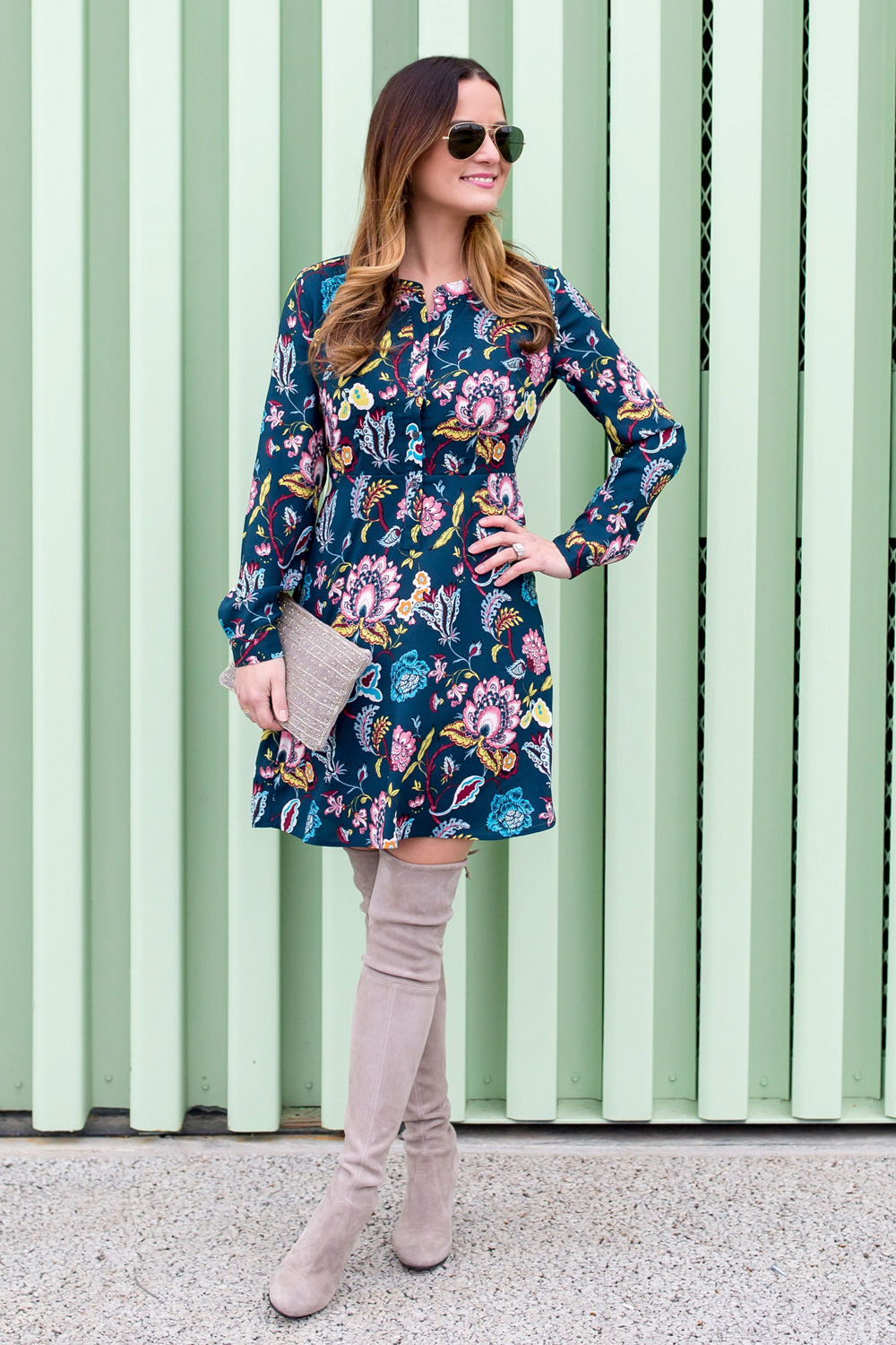 Long Sleeve Floral Shirtdress