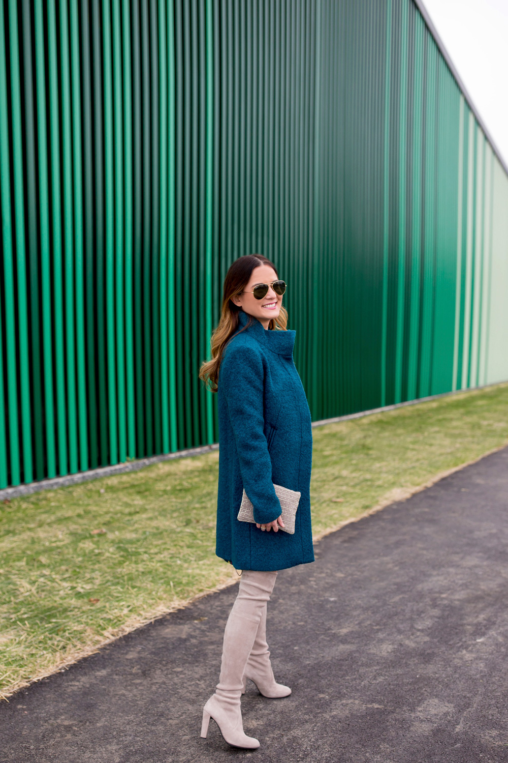 Teal Funnel Neck Coat