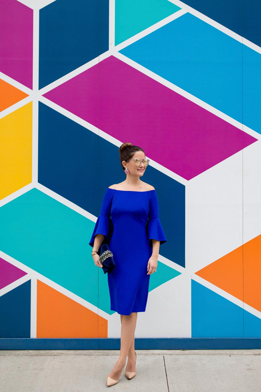 Blue Off Shoulder Dress
