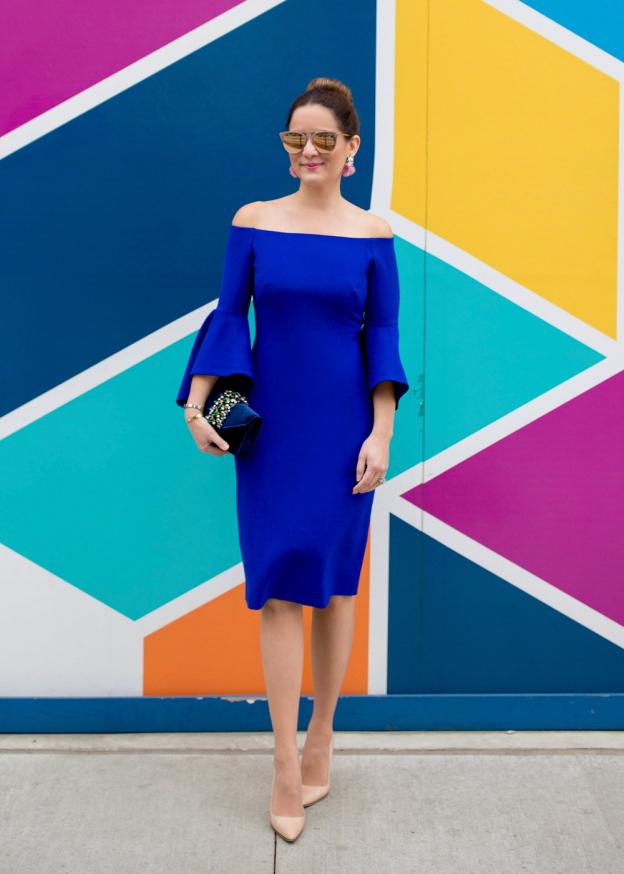 Chelsea28 Blue Off Shoulder Dress