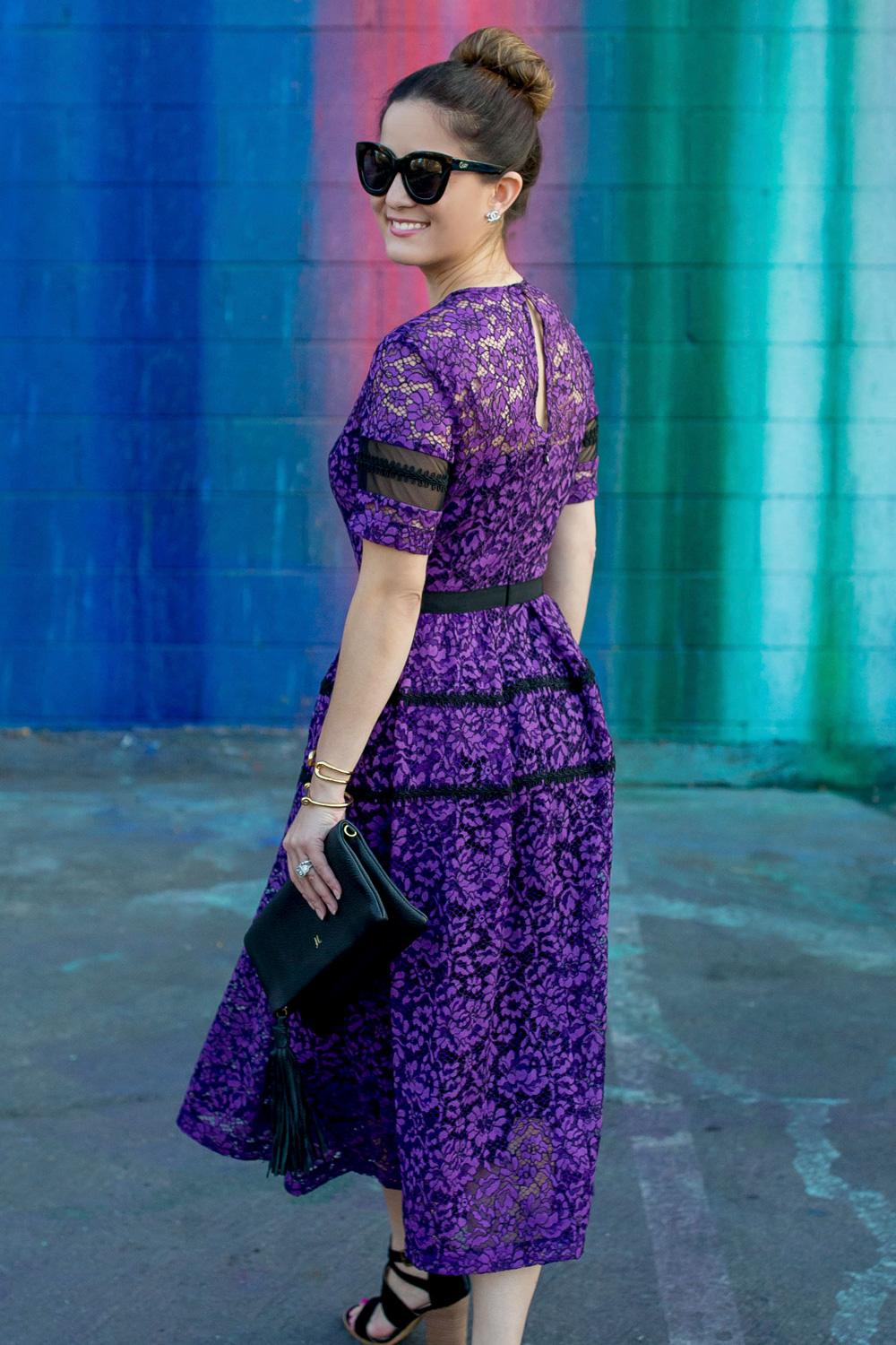 Purple Lace Fit and Flare Dress
