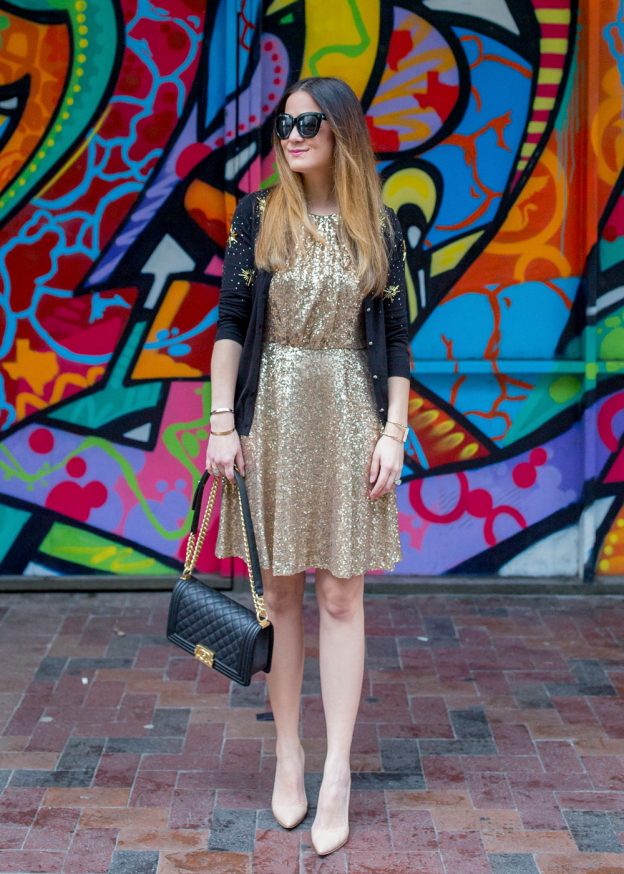 CeCe Sequin Fit and Flare Dress