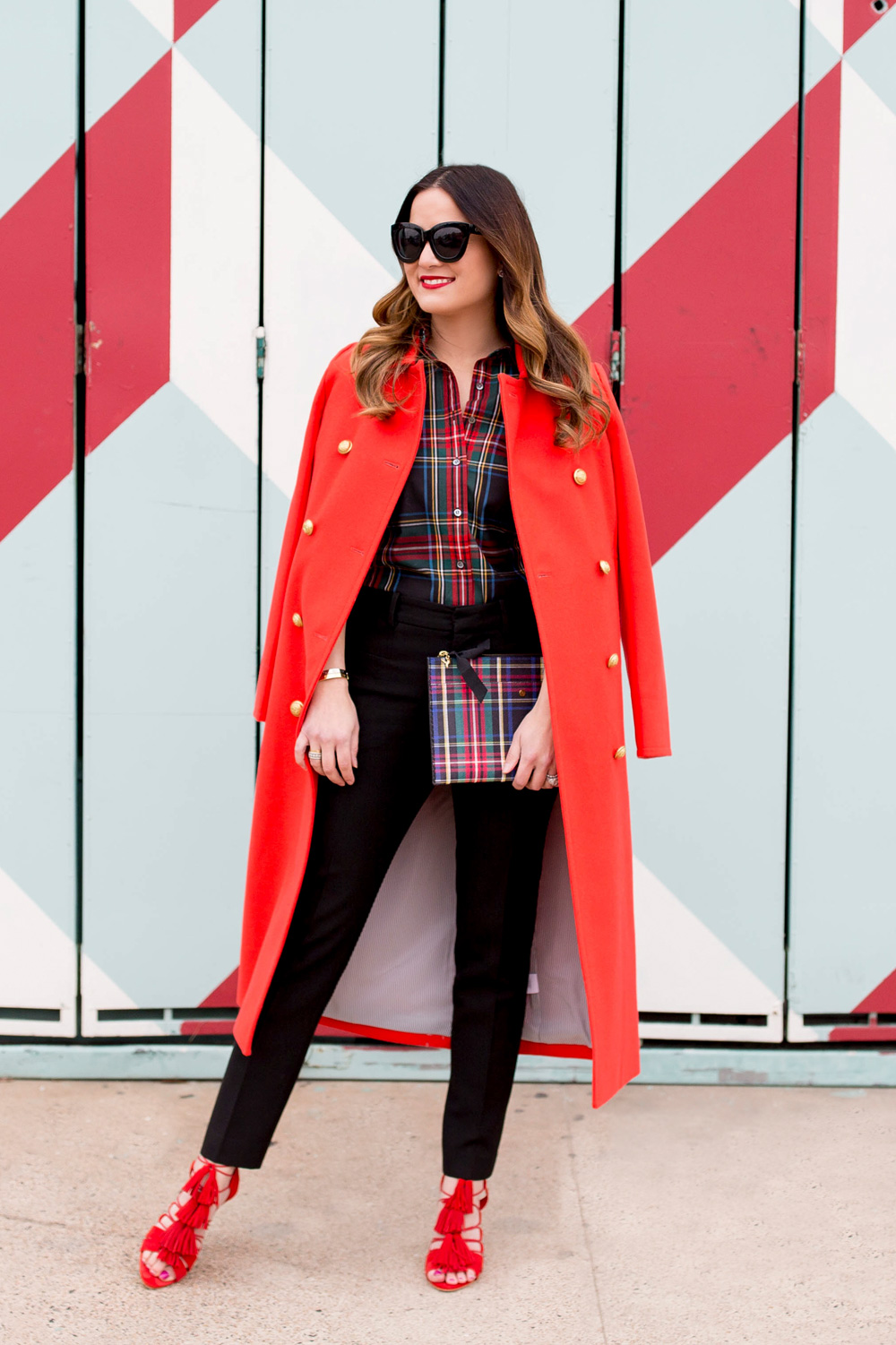 J. Crew Red Double Breasted Coat
