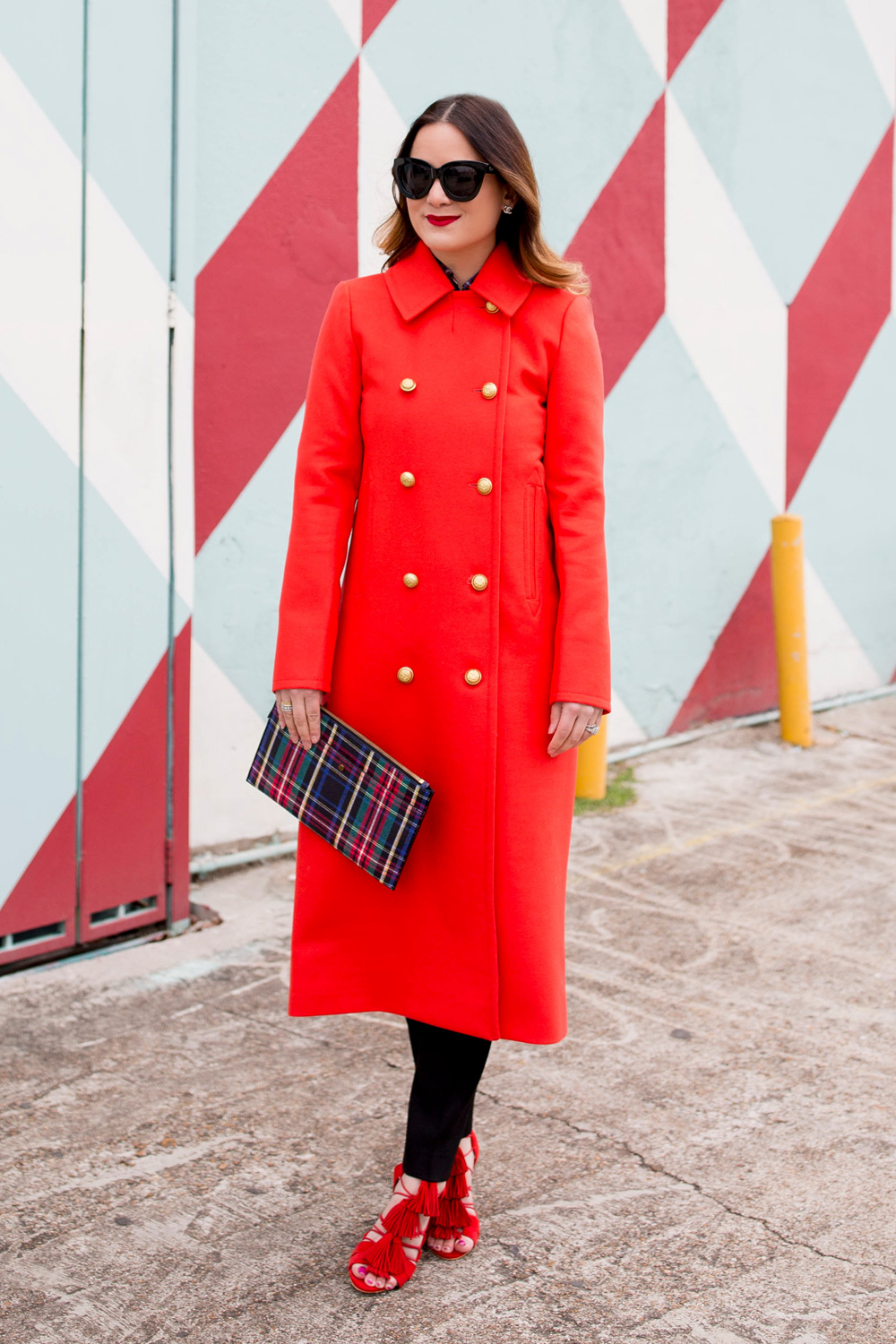 Red Long Coat Gold Buttons