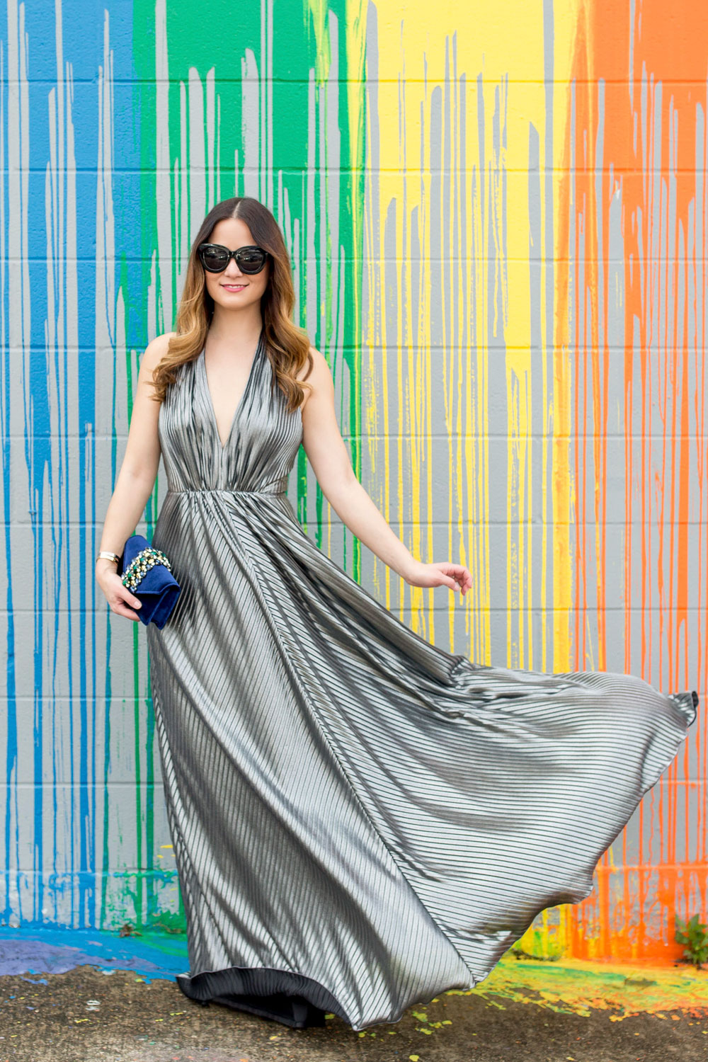 Silver Pleated Maxi Dress