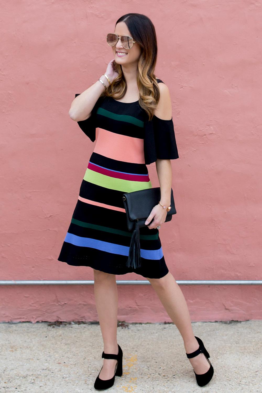 Multicolor Striped Cold Shoulder Dress