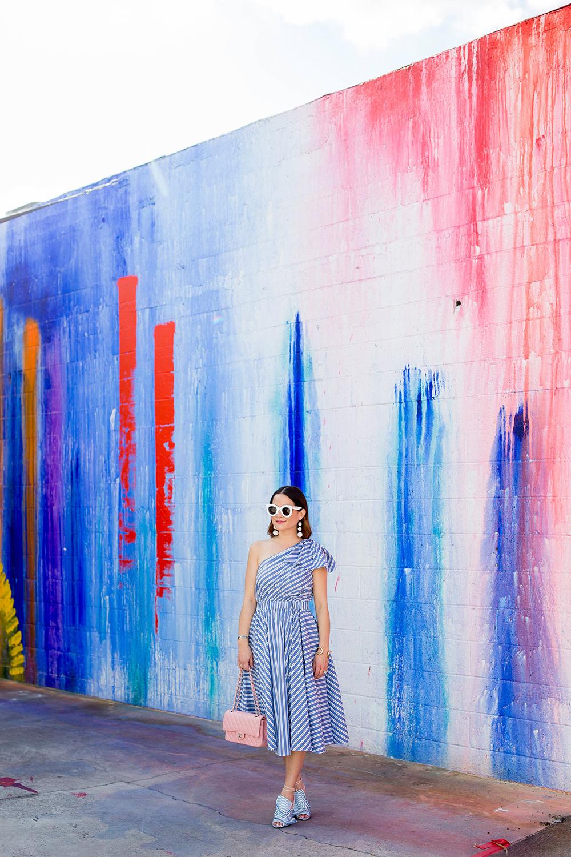 Stripe One Shoulder Midi Dress