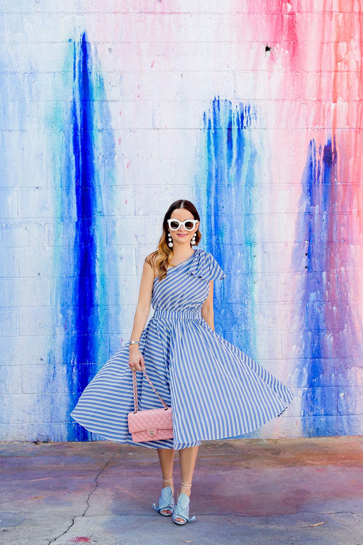 Milly Blue Stripe One Shoulder Dress