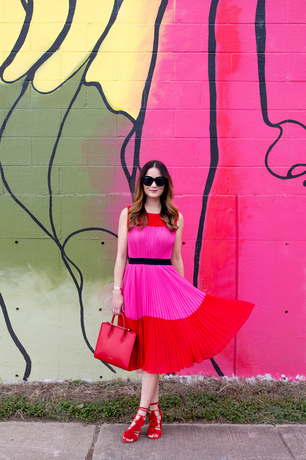 Red Pink Color Block Dress