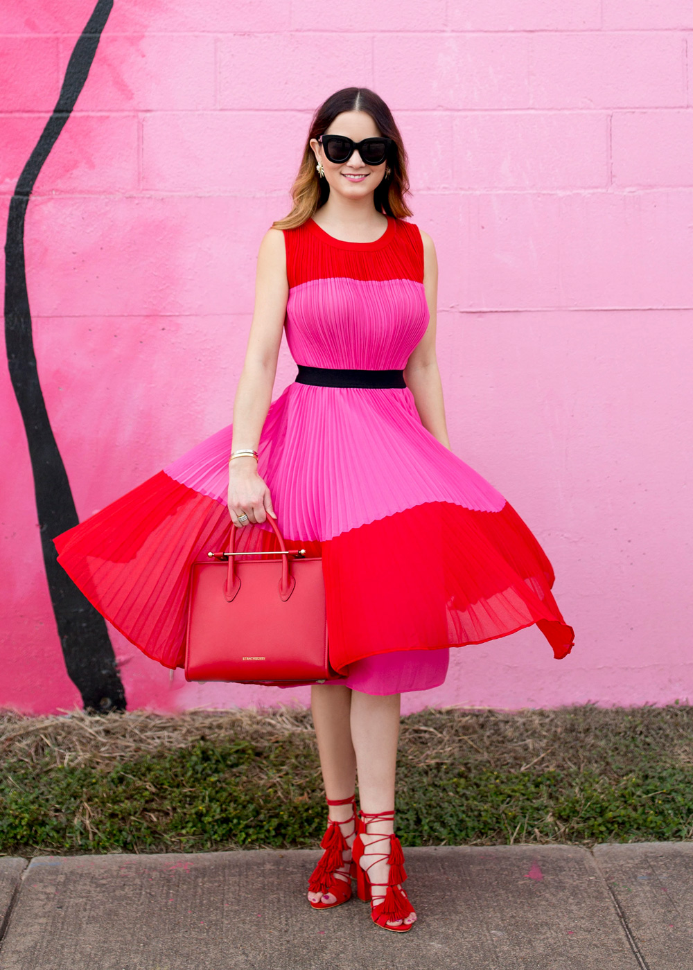 Pleated Color Block Dress