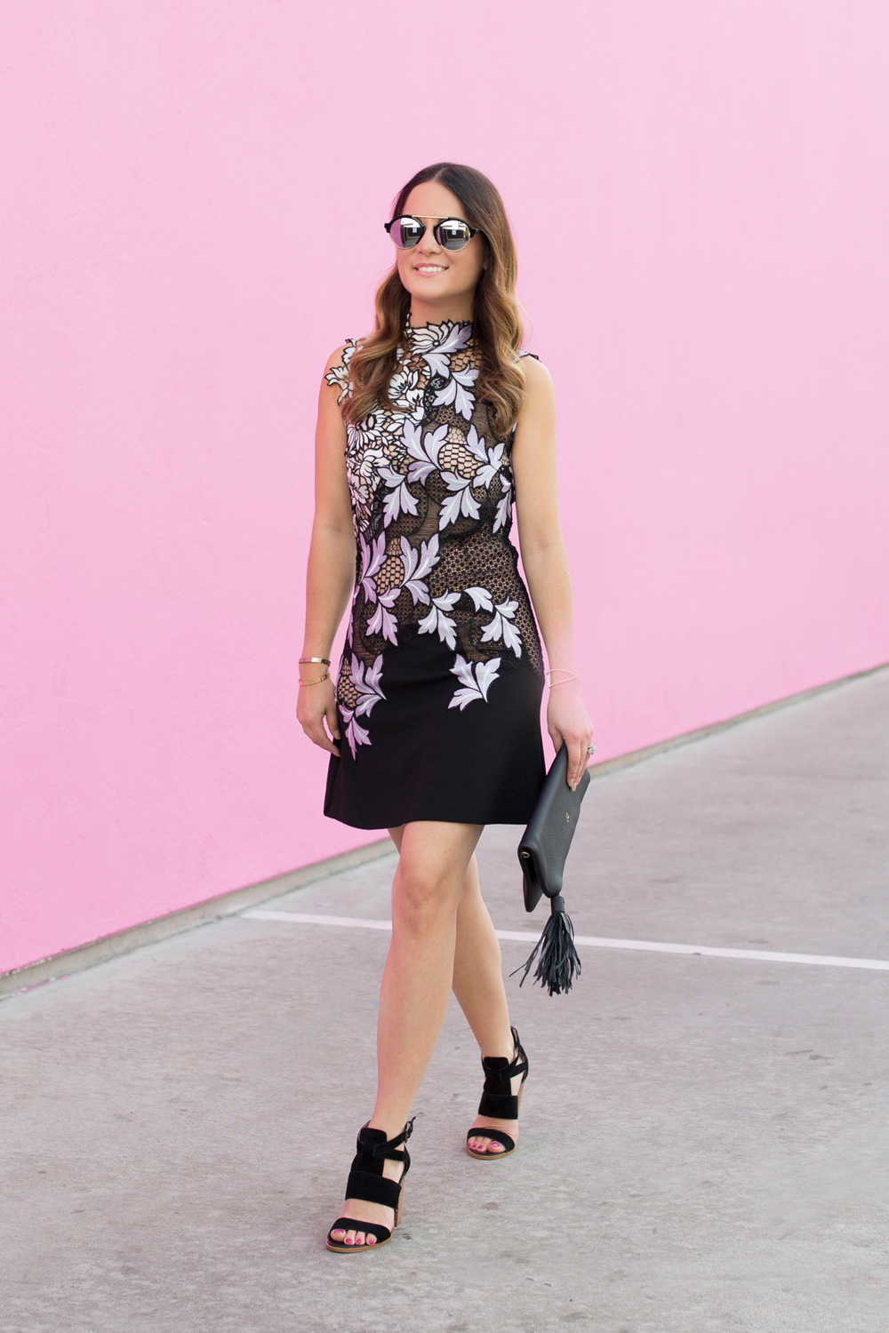 Black Lilac Lace Dress