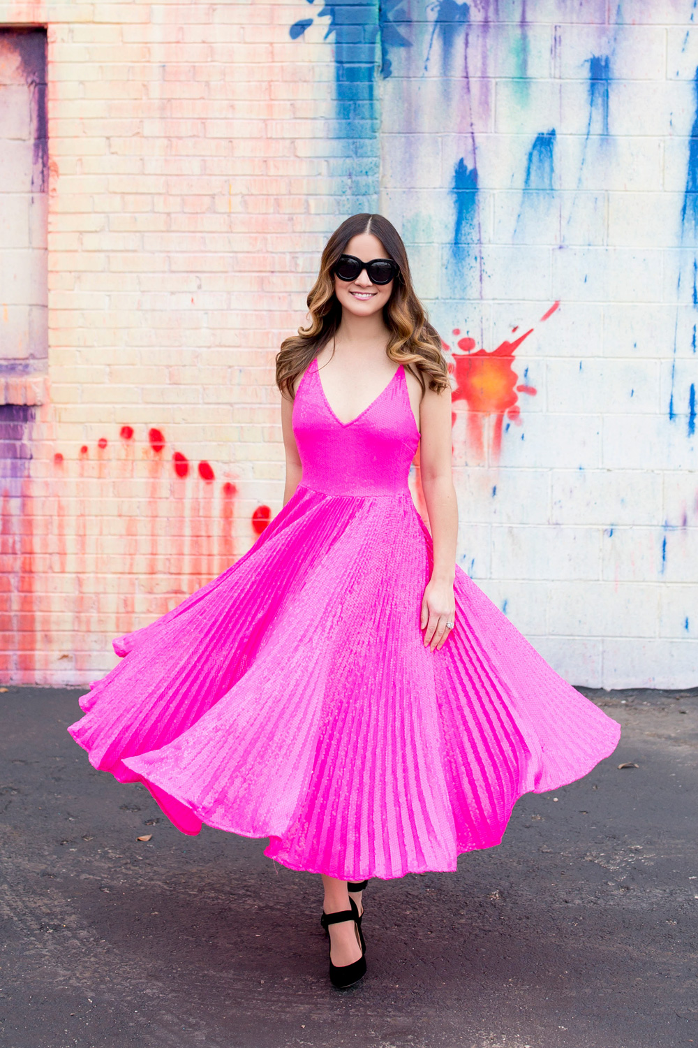 Pink Sequin Pleated Dress
