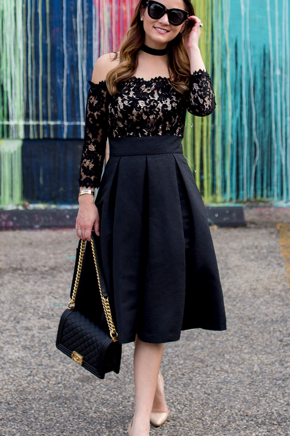 Black Lace Strapless Fit Flare Dress
